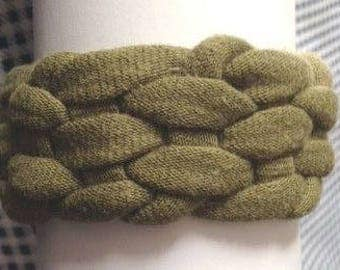 Olive Green Bracelet - cotton t shirt yarn - army fatigue