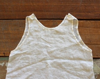 Antique Vintage Baby Gown/Underdress/Tank - Cotton with Hand Embroidery - 1930's