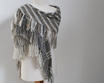 Crochet shawl, grey, camel, stripes, Q526
