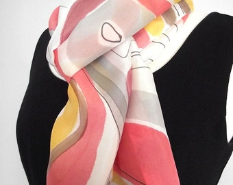 Hand Painted Silk Habotai Scarf, Abstract Design in Coral, Burgundy, Yellow, Brown and Grey on White Background 14 x 72""