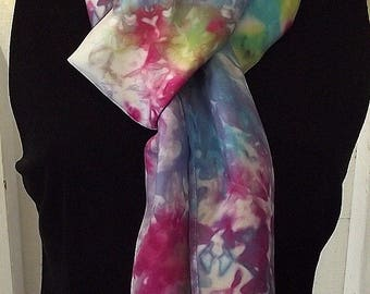 """Hand Dyed Silk Infinity Scarf - 11 x 76"""", Rainbow Colours on White,  Long Infinity Loop"""