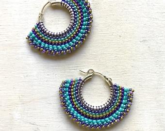 pastel stripe hoop earring, seed bead jewelry