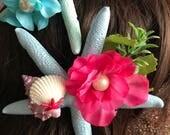 Pastel Mermaid Princess Starfish Hair Clips