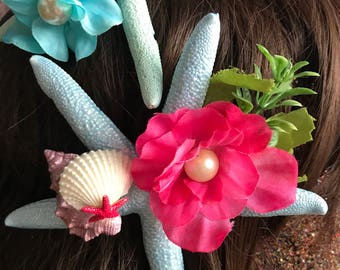 Pastel Mermaid Princess Starfish Hair Clips
