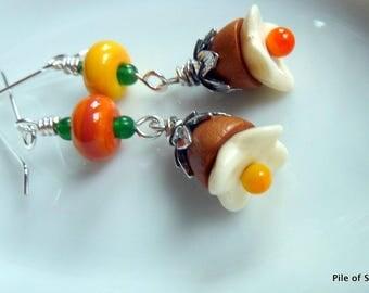 Colorful Garden Theme Earrings Orange Yellow Green Brown Silver Jewelry Fun and Funky Asymmetrical Earrings Summer Sunshine *Bloom Earrings