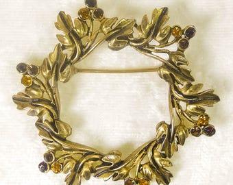 Vintage Antique Gold Tone Leafy Topaz & Red Berries Rhinestone Wreath Brooch - Gold Tone Leafy Rhinestone Wreath Brooch - Gold Wreath Pin
