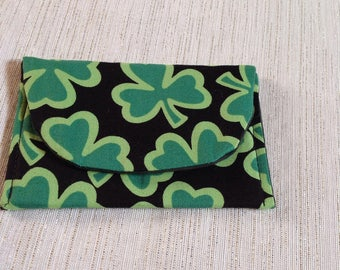 Card Holder Lucky Shamrock Green
