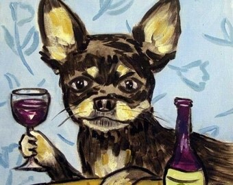 SALE 10 % off for holiday Chihuahua at the Wine Bar Dog Art Tile Coaster