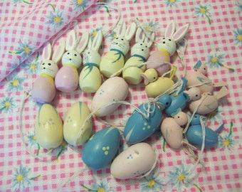 pastel bunnies, eggs and birds