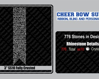 """3"""" Cheer Bow SS10 Crusted Rhinestone Strip 3"""" X 13"""" INSTANT FILE DOWNLOAD"""