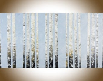 Birch tree Silver Birch Contemporary wall art large canvas art original painting living room art light blue home office art by qiqigallery