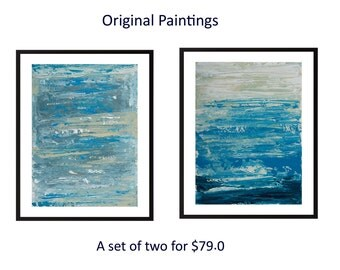 Original diptych painting abstract painting blue white acrylic painting on paper wall art wall decor home office decor by qiqigallery