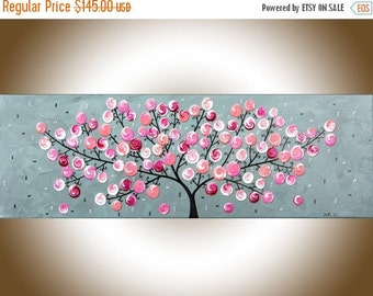 Original Pink grey abstract painting, whimsical art nursery art abstract swirl tree painting wall art wall decor Impasto canvas art by qiqi