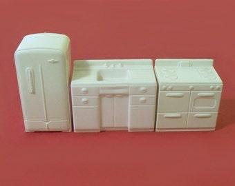 Vintage White MARX Half Scale Kitchen Stove Sink Refrigerator