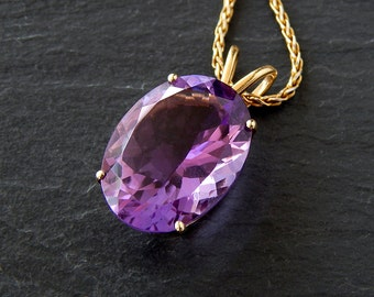 Large Amethyst Necklace: 14k yellow gold, 20x15mm oval natural amethyst, 14 carats, 18 inch wheat chain, February birthstone, purple pendant