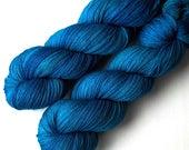 Handdyed Yarn Euro Sock Yarn SW Merino, Sfat Blue, 435 yards