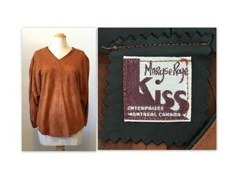Vintage 60s Kid Suede Hippie Top Jacket S by Maryse Roye for Kiss