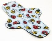 "Reusable Cloth winged ULTRATHIN Pantyliner - 8 Inch in ""Bees and Ladybugs"" - Cotton Flannel top"