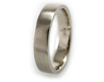 Mens Wedding Band, Palladium White Gold 5mm Wedding Band, Mens Wedding Ring, Palladium Wedding Band