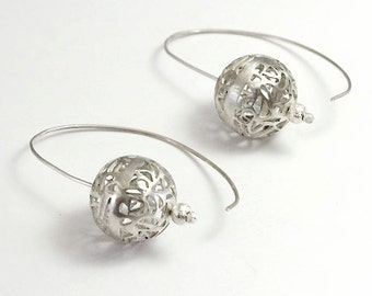 On SALE 25% OFF Silver Earrings, Filigree Earrings, Silver Lace Earrings, Bridal Earrings, Unique Earrings, Dangle Ball Earrings, Designe...