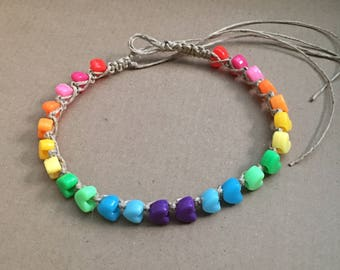 Rainbow Hemp Anklet