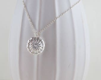 Large Poppy Silver Pendant Necklace by Swallow Jewellery