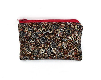 Pocket Zipper Case, Change Purse, Card Case, Coin Purse, Red Gold and Black Circles 8654