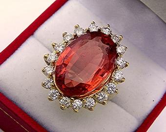 19x13mm Peach Pink Orange Tourmaline 16 carats in 18K yellow gold Diamond halo ring with 1.75 carats of Diamonds  1350