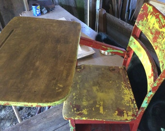 ANTIQUE CHILDS  SCHOOLDESK, vintage chair, Painted wood, metal, shabby Patina,