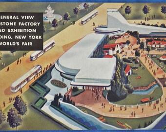 Postcard Firestone Factory and Exhibition Building New York World's Fair 1939 Postmark Linen