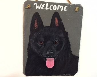 Schipperke Dog Welcome Slate