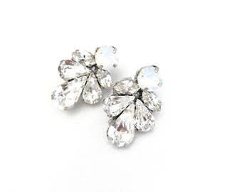 White Opal Bridal Rhinestone Earrings, Bridesmaid Earrings, Wedding Earrings, Couture wedding jewelry, Swarovski, crystal post earrings