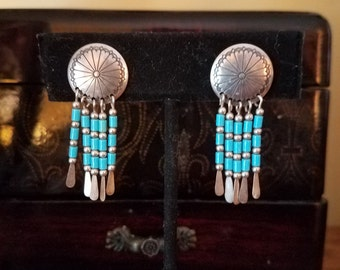 Native American Style Silver and Turquoise Beaded Earrings
