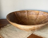 Vintage large rustic prim primitive wooden dough bowl with ribs on the inside farmhouse industrial country