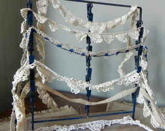 Vintage handmade lace trim 8 lengths 1 inch wide white ecru  blue wedding sewing supply clothing tatted tatting dressmaking purses