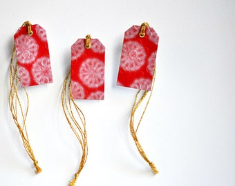 Luxe Japanese {3} Gift Tags Red w. Gold Metallic Ties | Embossed Gift Tags | Red Gift Tags| Christmas in July