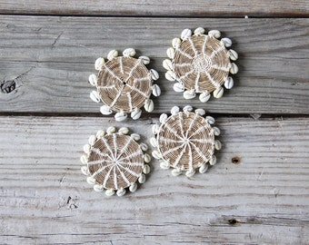 Boho Woven Shell Coasters, Set of 4