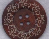 SALE Rusty Brown Wood Buttons BIG Wooden Buttons 60mm (2 3/8 inch) Set of 2/BT505