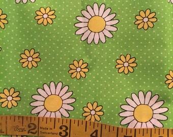 1.5 Yards of Green Daisy Fabric