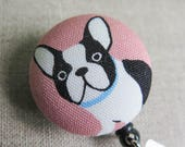 Badge Reel | Retractable Badge Holder,  Nurse Badge Reel, ID Badge Holder, Badge Clip, Cute Badge Reel - FRENCH BULLDOG