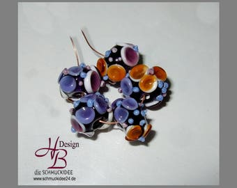 5 Spacer Flower, Beadset, SRA #B131,colorful beads set, Lampwork, Murano