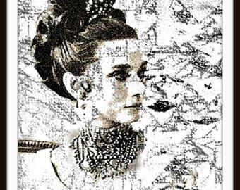 Audrey Hepburn- Art- 8.5x11