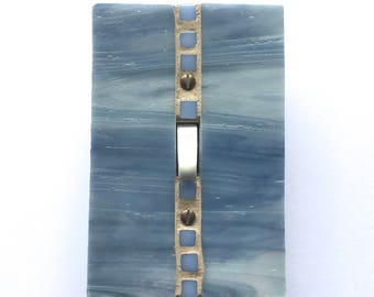 Blue Gray Switch Plate, Decorative Light Switch Cover, Iridescent Stained Glass, Lightswitch Plate, Glass Switch Plates, Wall Art, 8607