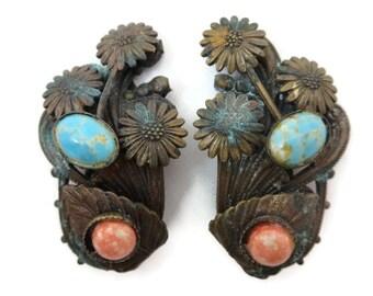 Copper Dress Clip Set Pair - Art Nouveau, Coral and Turquoise Art Glass, Daisy Flowers