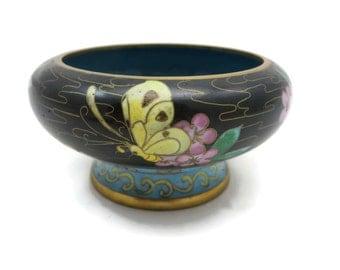 Cloisonne Bowl - Flowers, Butterflies Pattern, Chinese, Blue Green Yellow Enamel, Pedestal Dish