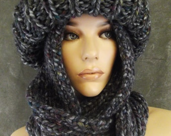 Knit Toboggan,Scarf Set,Blue Ski Hat,Infinity Scarf,Wool Blend,Accessory,Women,Winter Hats,Grey Tweed,