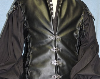 Custom Made leather Killian from Once Upon a Time Captain Hook leather vest, shirt and pants