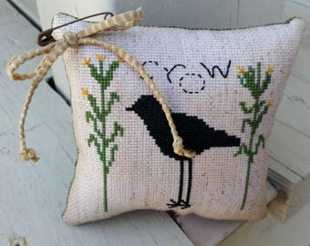 Completed Cross Stitch Crow & Cornstalks Made To Order Mini Pillow Home Decor