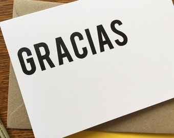 Gracias - Text Cards - Greeting Card - Thank You, Stationery
