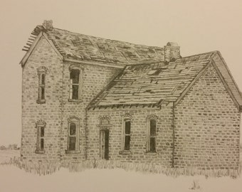 "Graphite Print, Vintage Homestead, Boone County, IN artist drawn, 5""x7"" matted print"